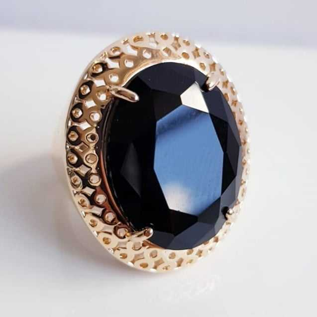 Anel cristal preto ônix oval 20x15mm - modelo Lolita