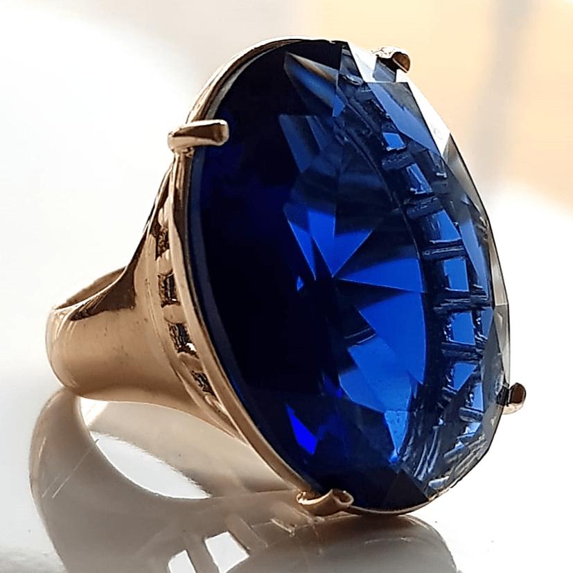 Anel cristal azul safira 25X18mm - Modelo Dama