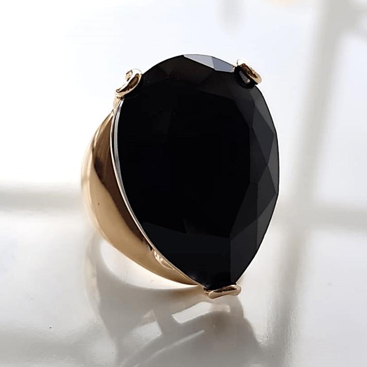 Anel cristal preto ônix gota 25x18mm  - modelo Energy