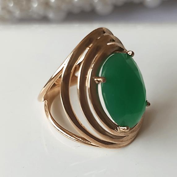 Anel cristal verde esmeralda oval 12X16MM - modelo Fortune