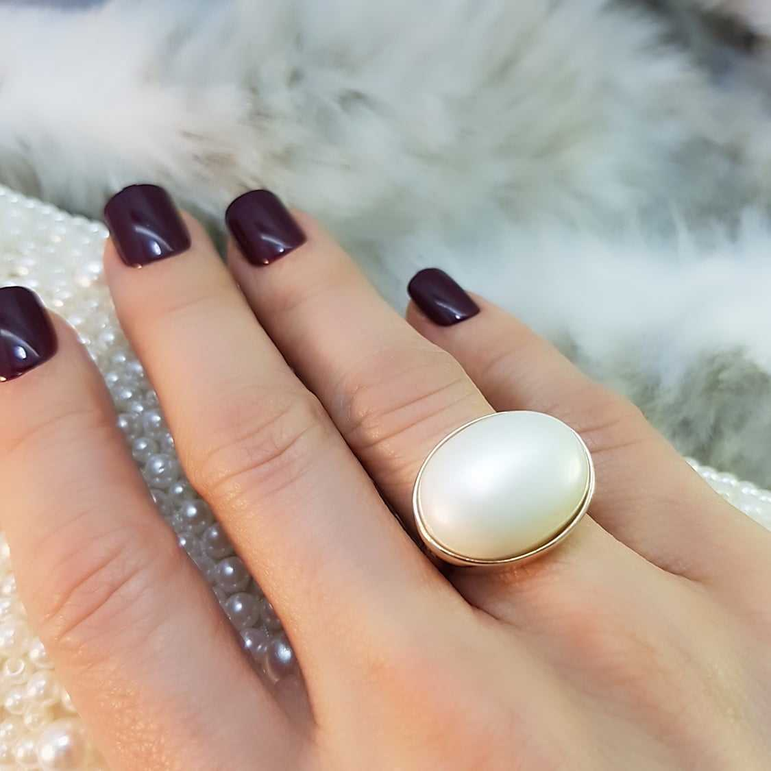 anel  pérola shell oval transversal 20x15mm