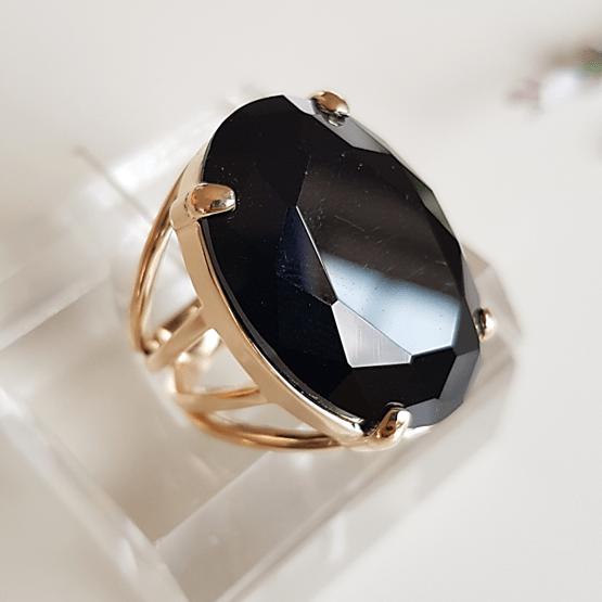 Anel cristal preto ônix oval 25x18mm - modelo 4 aros - numeração pequena - modelo Blenda