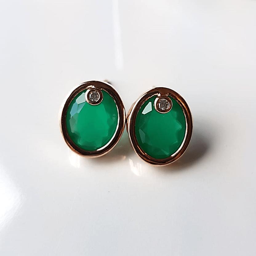 Brinco botão cristal verde esmeralda e zircônia -oval 12x10mm - 2