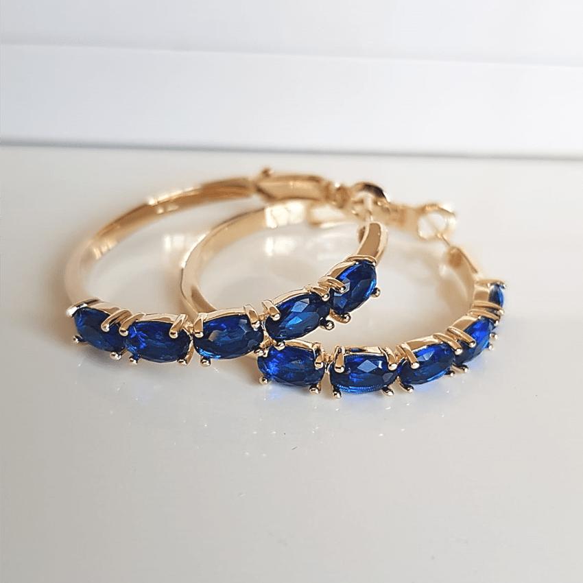 Brinco de argola cristais azul safira- modelo Camilla