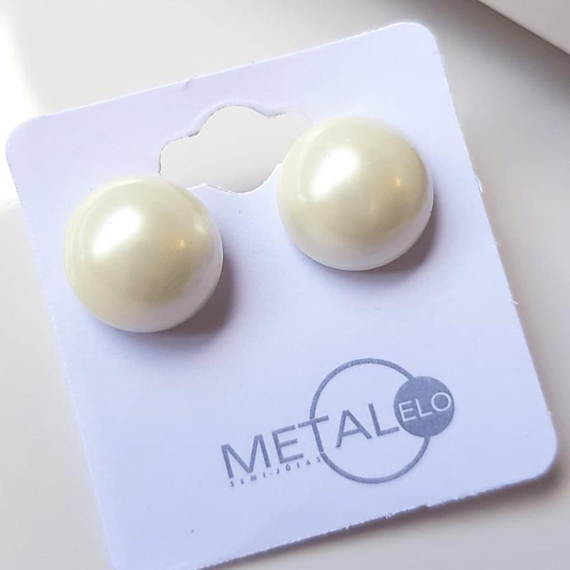 Brinco pérola shell 12mm