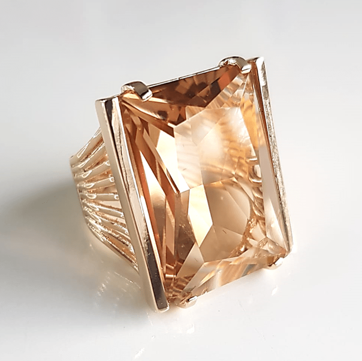 Anel cristal champanhe retangular 25x20mm - modelo Andy