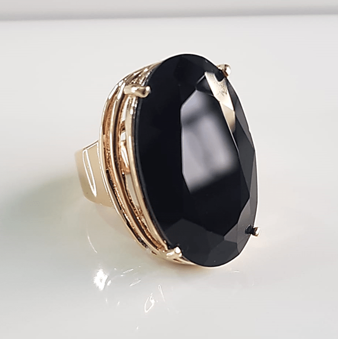 anel cristal preto ônix 25x15mm - modelo Presence