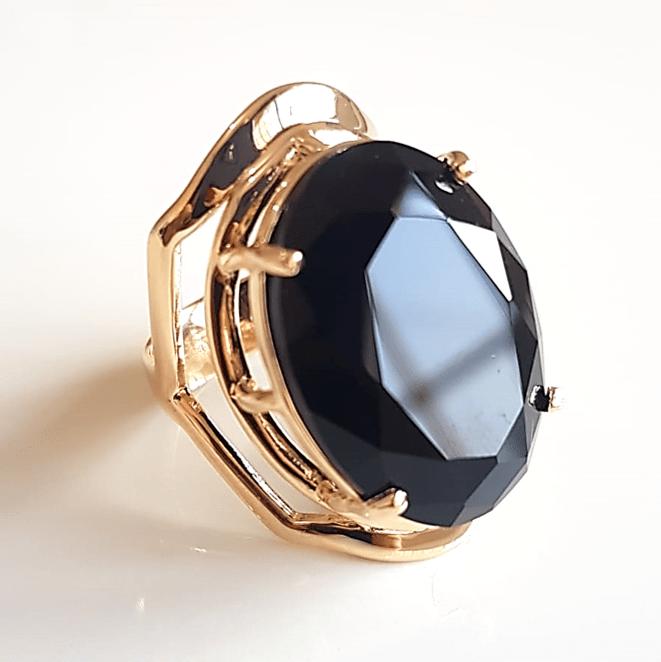 Anel cristal preto ônix oval - 25x18mm  - modelo Ivy