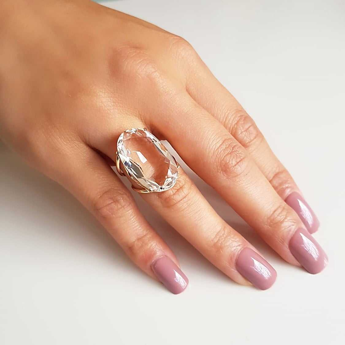Anel cristal white oval 25x15mm - Modelo Clarice
