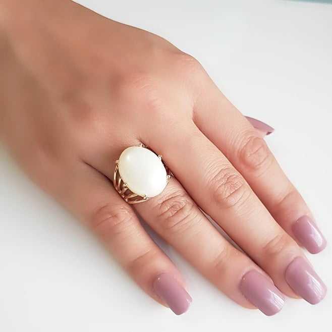 anel  pérola shell mabe 20x15mm - oval