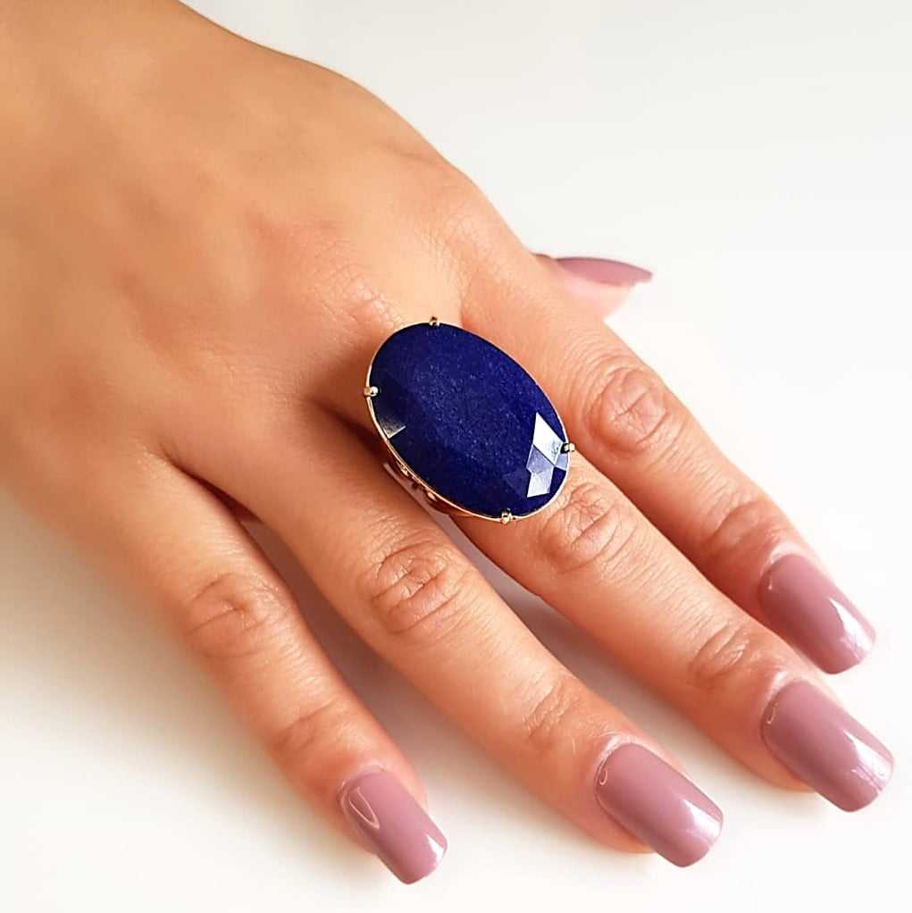 Anel quartzo azul jeans oval 30x20mm - modelo Brigite