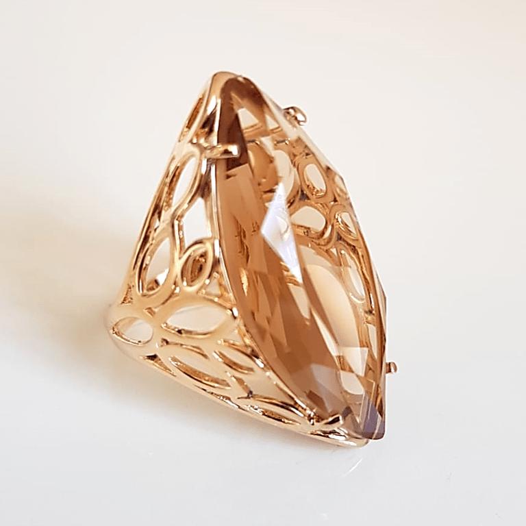 Anel Ully cristal champanhe - formato navete