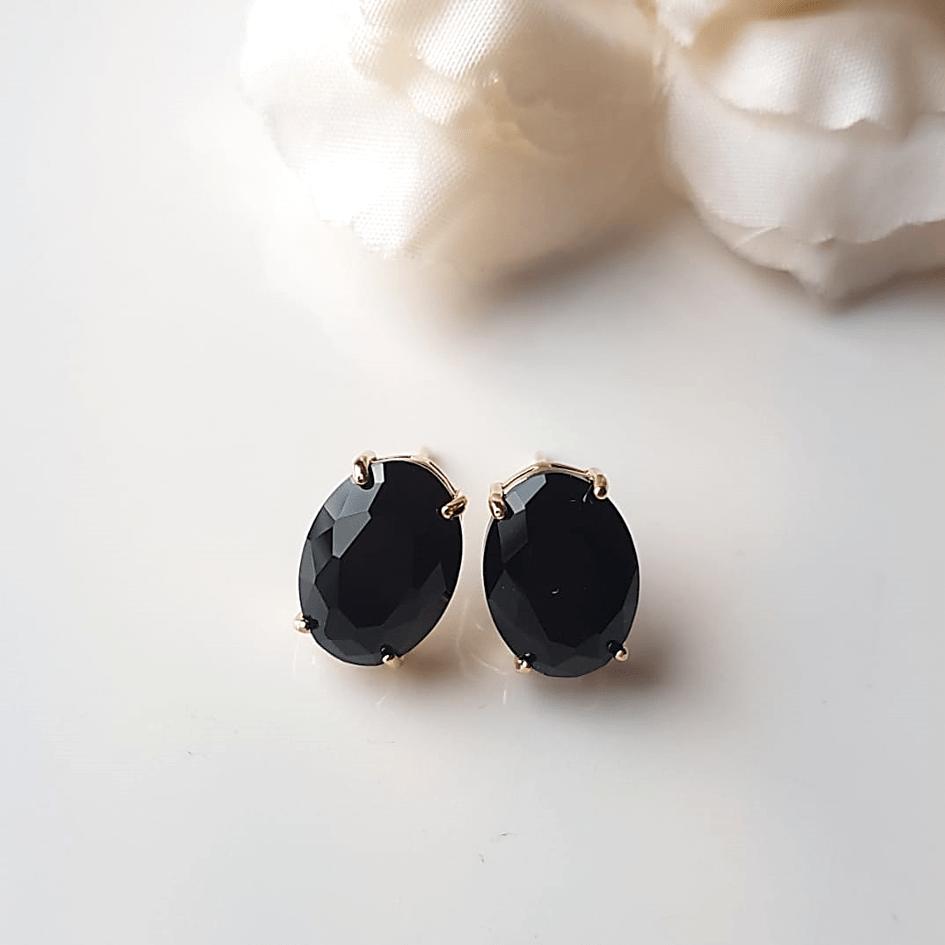 Brinco botão cristal preto ônix-oval 15x10mm