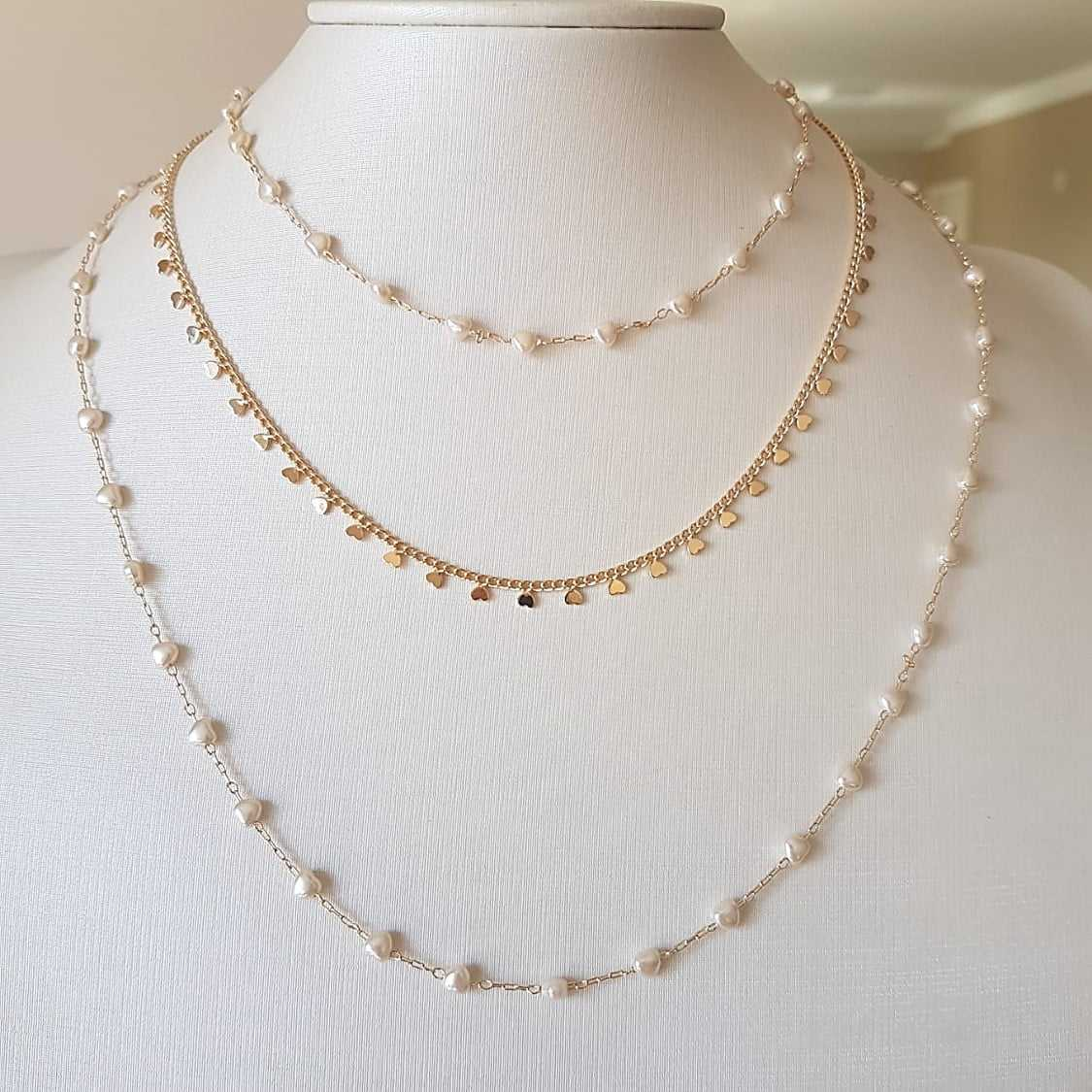 Mix de colares Delicatta  - com pérolas e corações