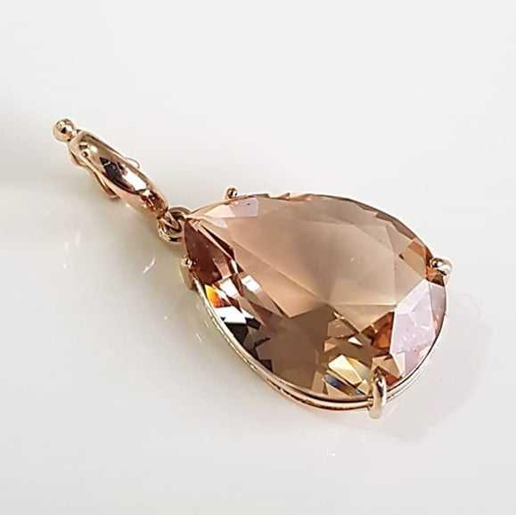 Pingente cristal gota champanhe 20x15xmm-2