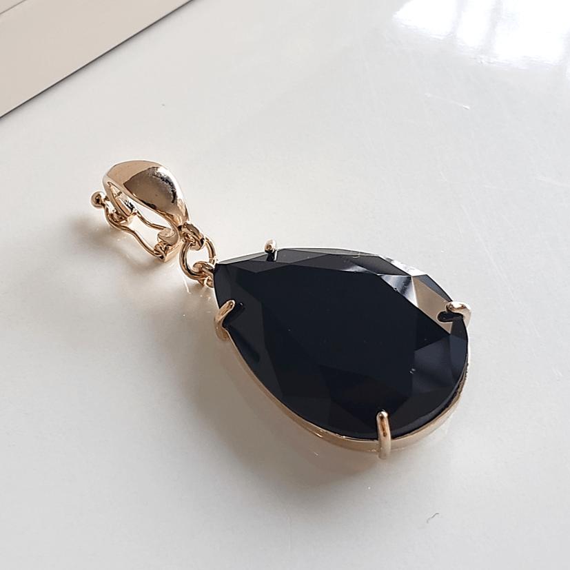 Pingente gota cristal 25x18mm - preto ônix