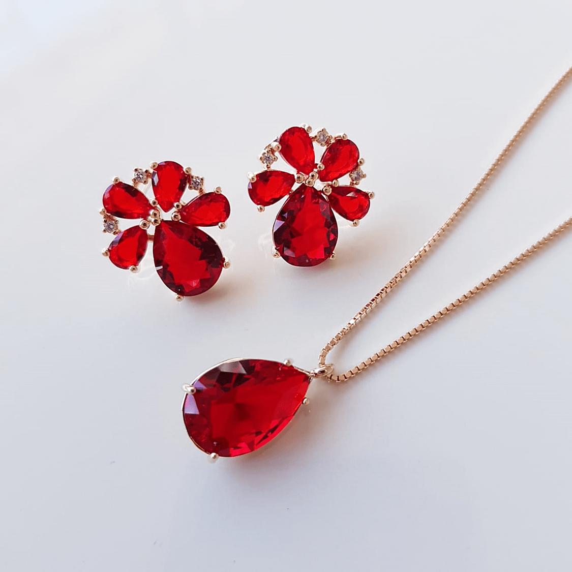 Conjunto Bella cristais vermelho rubi- colar e brinco