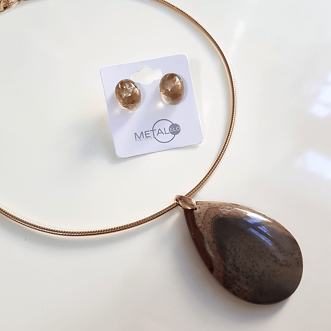 Conjunto Singular - pedra natural Jaspe Australiano - colar aro + brinco - 6