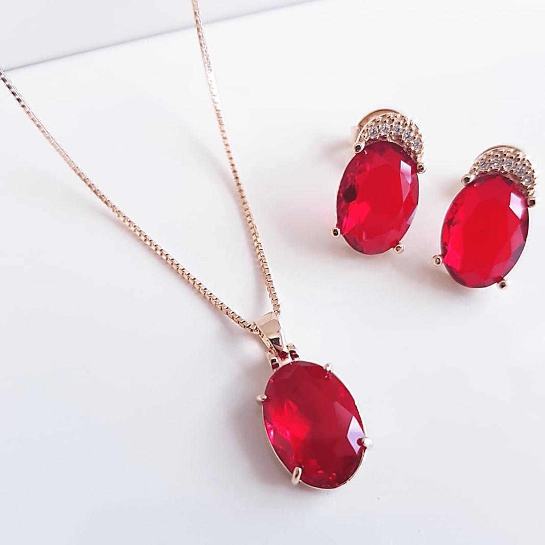 Conjunto Daily - cristal vermelho rubi - colar curto e brinco botão
