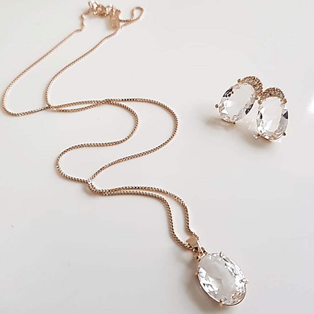 Conjunto Daily - cristal white - colar curto e brinco botão