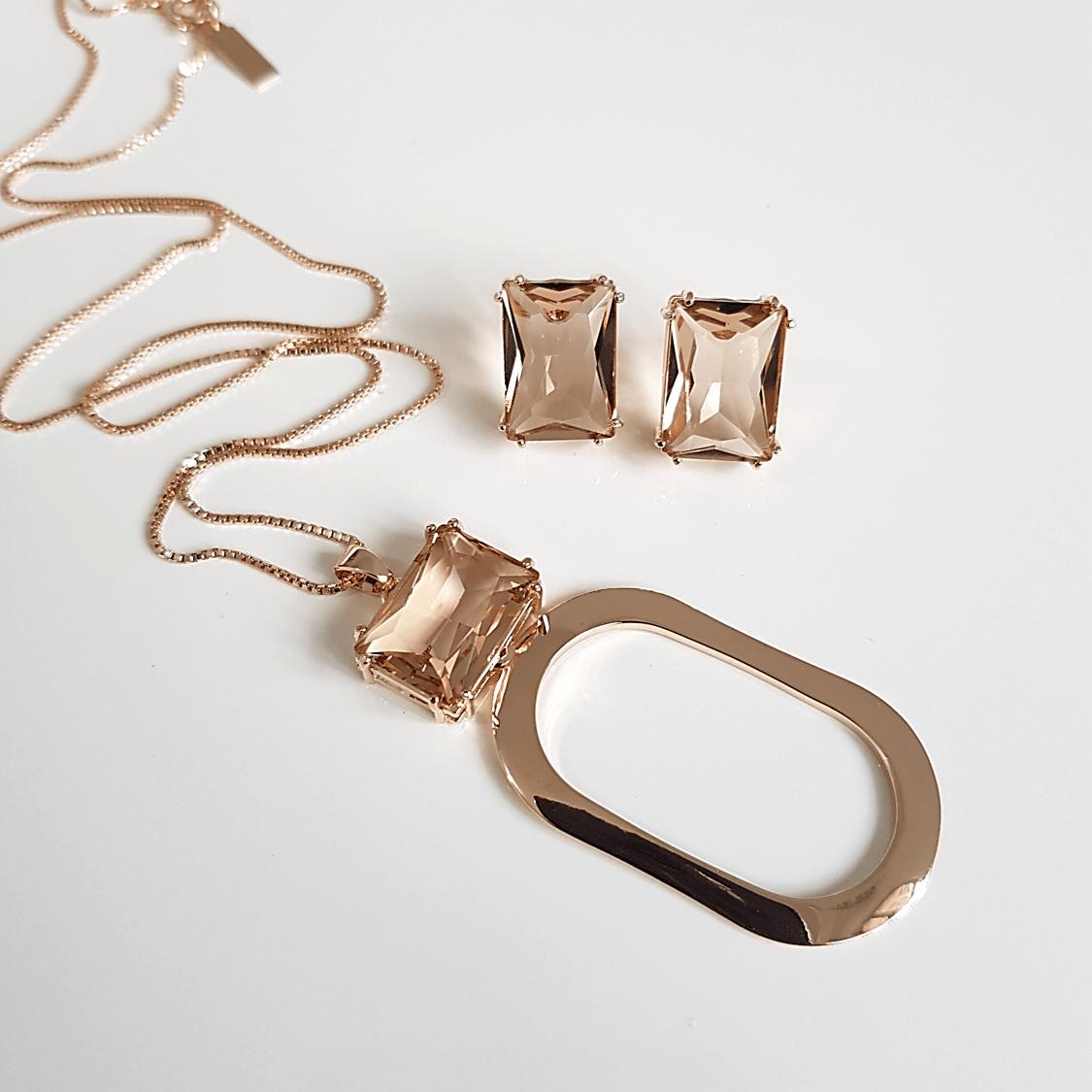 1-Conjunto colar e brinco de cristal champanhe - retangular