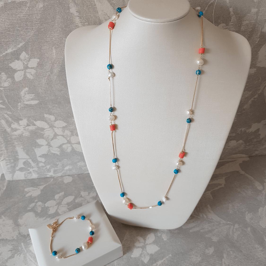 Conjunto colar e pulseira - coral e turquesa
