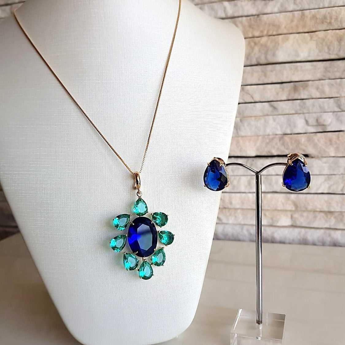 1-Conjunto Premium com cristais azul safira e verde turmalina