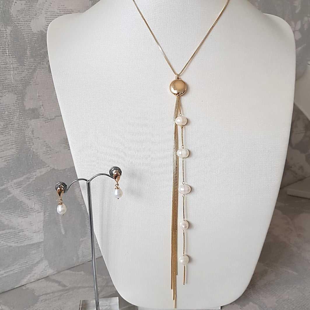 conjunto colar elegante em Y e brinco pérola de água doce