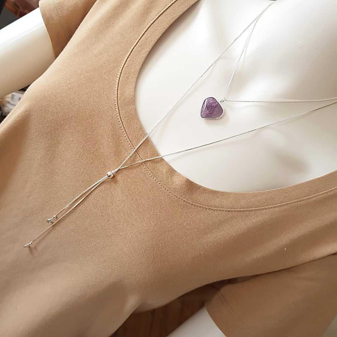 Kit colar duplo com pedra natural ametista - coração .