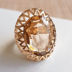 Anel cristal champanhe oval 20x15mm - modelo Mariah