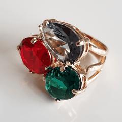 Anel cristais multicolor -rubi-turmalina - modelo LAVÍNIA