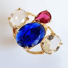 Anel cristais multicolor - modelo Sophia cor 6