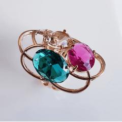 Anel cristais multicolor- modelo Garden - cor 1