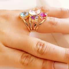 Anel cristais multicolor - modelo Sophia cor 2