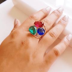 Anel cristais multicolor - modelo Valentine 2