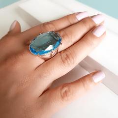 Anel cristal azul aquamarine - 28x17mm - Modelo Fiorela