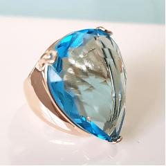 Anel cristal azul aquamarine formato gota 25x18mm - modelo Energy