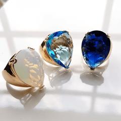 Anel cristal azul safira gota 25x18mm - modelo Energy