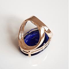 Anel cristal azul safira oval 30x20mm - modelo Morgana
