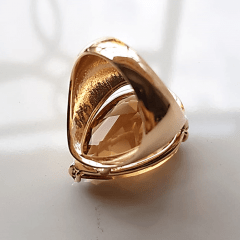 Anel cristal champanhe formato gota 25x18mm - modelo Energy