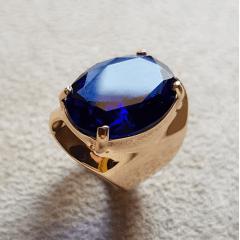 Anel cristal azul safira oval 20x15mm  - modelo Allana