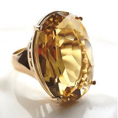 Anel cristal green gold oval 25x18mm - Modelo Dama