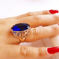 Anel cristal azul safira oval 25x18 - modelo Antonina