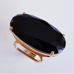 Anel cristal preto ônix oval 29x15mm - numeração pequena  -  modelo Letícia