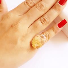 Anel cristal rutilado oval 25x18mm- modelo garra u - numeração pequena