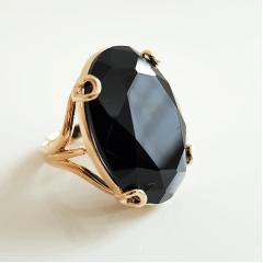 Anel cristal preto ônix oval 25x18mm - modelo garra U  - numeração pequena