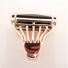 Anel cristal preto ônix retangular 20x25mm  modelo EMMA