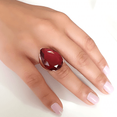 Anel cristal rosa turmalina formato gota 25x18mm - modelo Energy