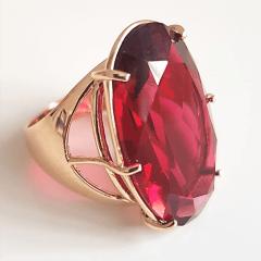 Anel cristal rosa turmalina 28x17mm - modelo Fiorela