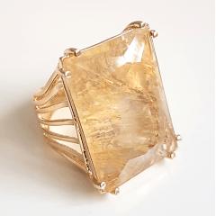 Anel cristal rutilado retangular- 2,5x2cm - Modelo EMMA